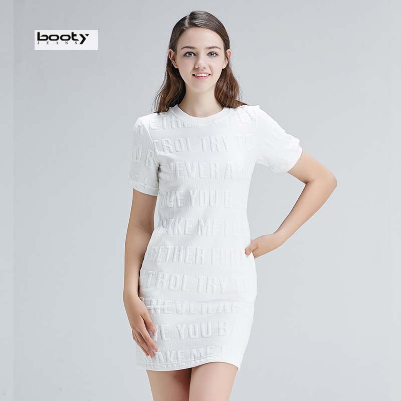 Bootyjeans Brand Europe Style New Spring Summer Woman Fashion Three-dimensional Letters Printed Dress White Slim Basic O-neck