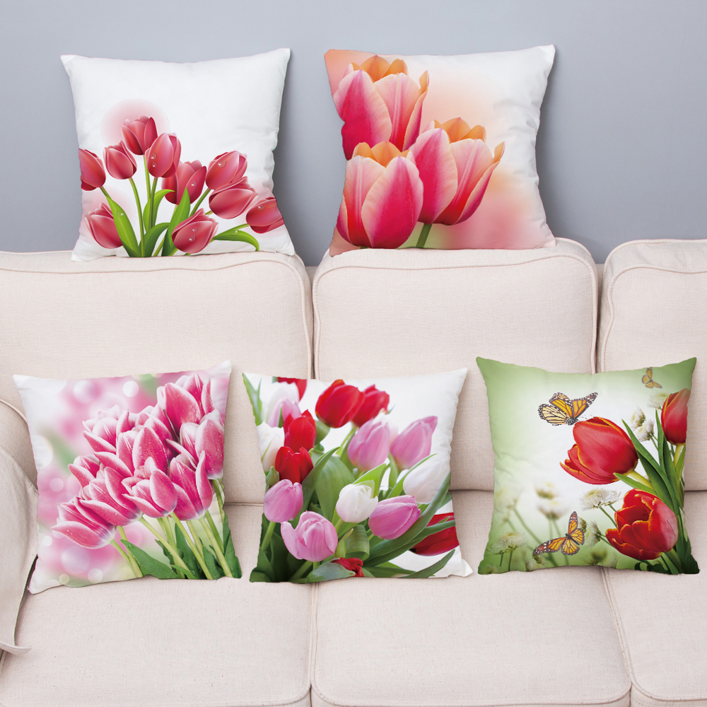 Tulip Flower Floral Cushion Cover Super Soft Short Plush Pillows Covers 45*45 Square Throw Pillow Case Sofa Home Decor Pillowcae