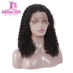 Аманда Full Lace натуральные волосы парики с Детские волосы Малайзии странный вьющиеся Волосы remy предварительно сорвал Full Lace парики из
