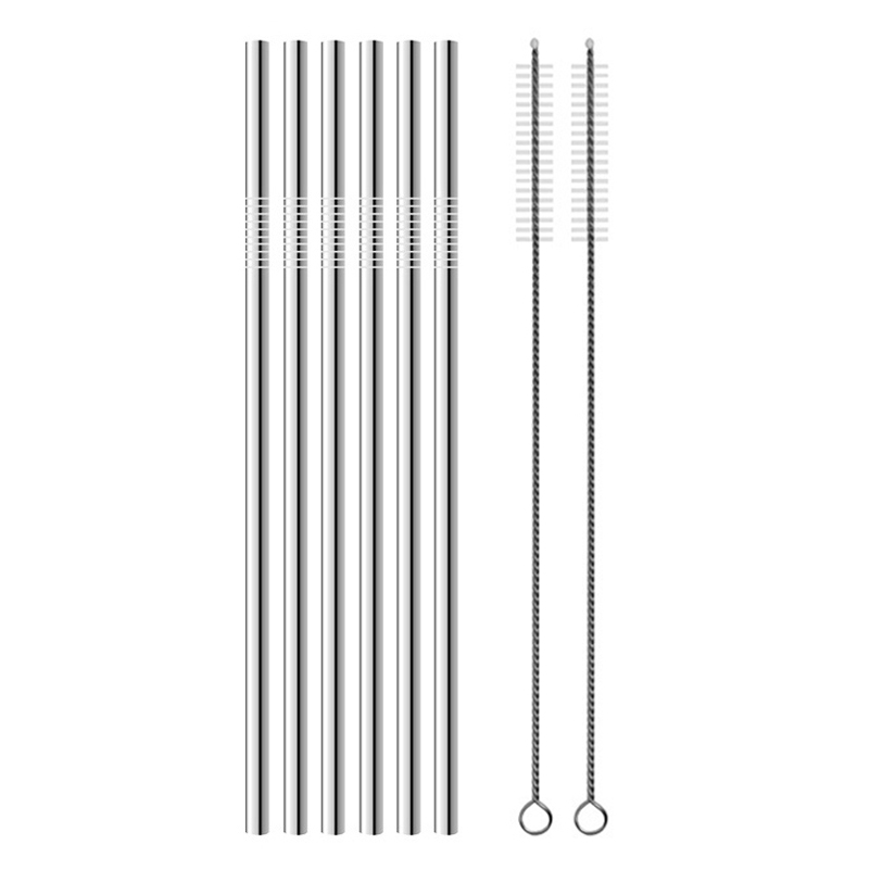 Reusable Drinking Straw 304 Stainless Steel Metal Straws with Cleaning Brush in Drinking Straws from Home Garden