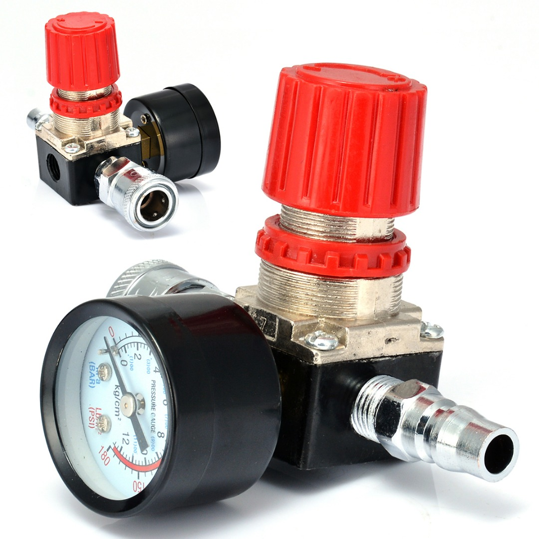 1/4 Air Compressor Valve 180PSI 12 Bar Regulator Pressure Switch Control with Gauges 1pc air compressor pressure regulator valve air control pressure gauge relief regulator 75x40x40mm