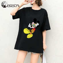 Women Summer Mickey Mouse Tops Tee Short Sleeve Black Clothes Fashion Loose Cartoon Plus Size T Shirts Casual Wear