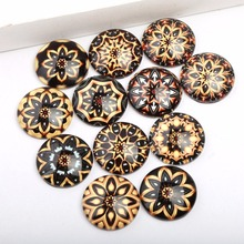 reidgaller mixed gold mandala photo glass cabochon 10mm 12mm 14mm 18mm 20mm 25mm handmade flatback round dome jewelry findings