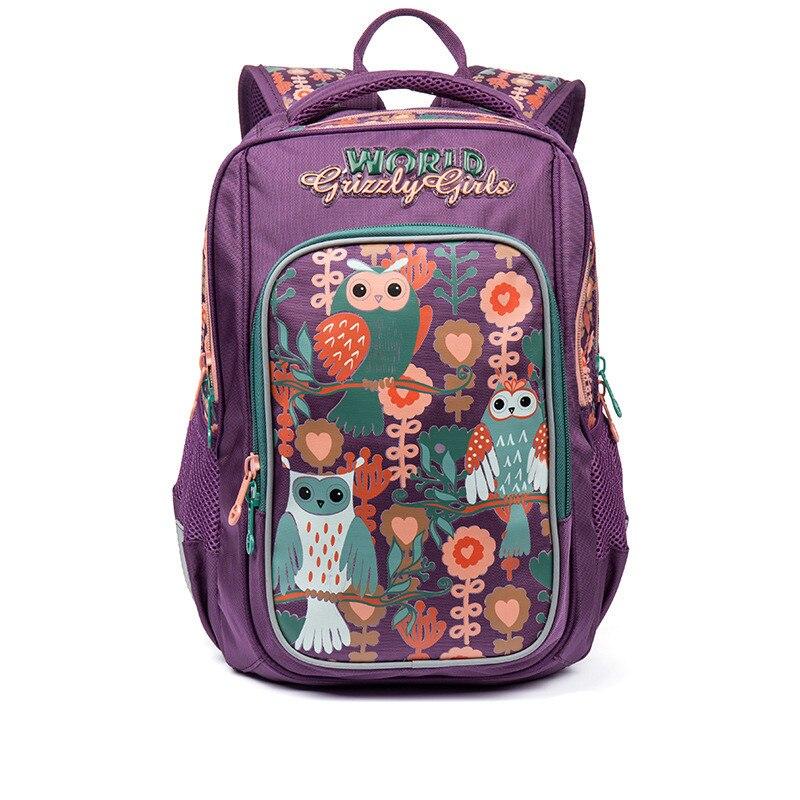 GRIZZLY Children School Bags Girls School Backpacks Cartoon Owl Pattern Waterproof Breathable Orthopedic Backpack Kids Book Bag