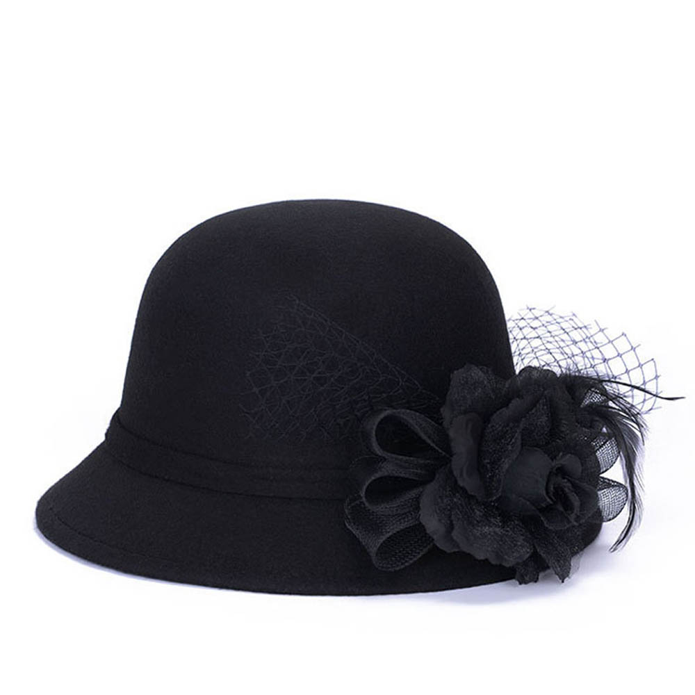357af55c5 US $6.58 |Fashion Vintage Formal Chapeu Hats For Women Imitation Wool Tulle  Feather Flower Bowler Hat Bucket Cap Wedding Wear Feminino -in Fedoras ...