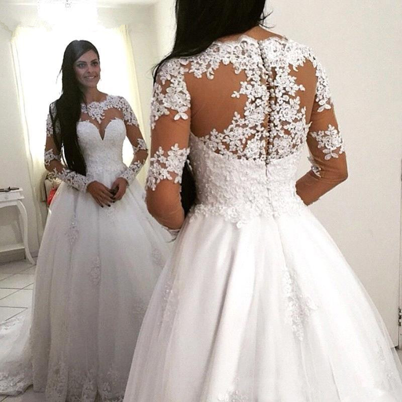 Fashion 2019 Wedding Dresses Lace Appliques Long Sleeves A Line Tulle Elegant Women Bridal Gowns Vestidos