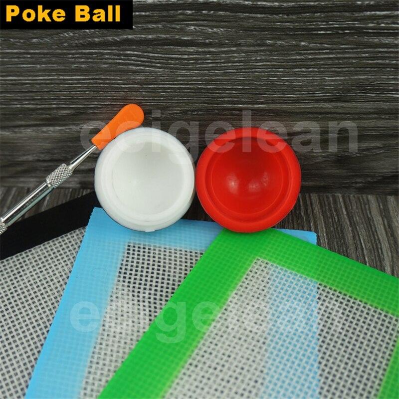 1set Pokeball Dab Wax Silicone Jar dab carving tool kit 14 11 5cm silicone mat Nonstick