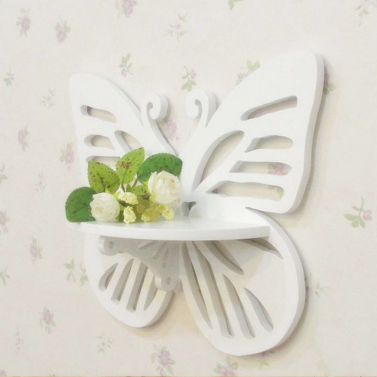 butterfly shape 3d wall sticker fretwork plaques with supportive rack wpc board in white mediterranean style
