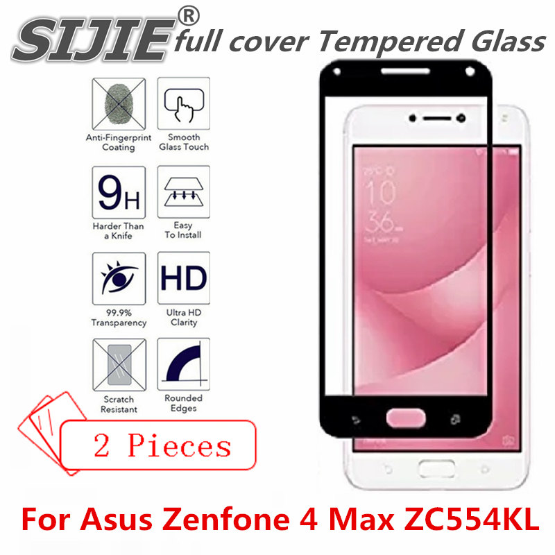 2 pcs full cover Tempered Glass For Asus Zenfone 4 Max ZC554KL Suitable Screen protective toughened fit on edges case friendly in Phone Screen Protectors from Cellphones Telecommunications