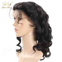 Queen Berry Loose Wave Wig For Women Lace Front Human Hair Wigs Pre Plucked Peruvian Virgin Hair Half Lace Wig With Baby Hair