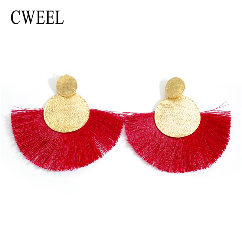 CWEEL 2018 Earrings Red Long Tassel Earrings Vintage Ethnic Fringed Earring For Women Fashion Za Hanging Earings Brincos