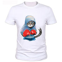 MMA Gray Cat Star Boxinger Fighter Pugilist Gloves Funny Joke Men T Shirt Tee