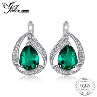 JewelryPalace Water Drop 3.7ct Created Green Nano Russian Emerald Clip Earrings For Women Solid 925 Sterling Silver Fine Jewelry