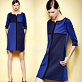 New Women Ladies Fashion Middle Long Sleeve Straight With Pocket Dress Casual Party Dress