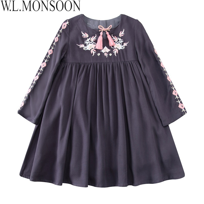 W.L.MONSOON Girls Autumn Dress Christmas 2017 Brand Princess Dress with Tassel Embroidered Clothes Kids Dresses Robe Fille 2-12Y mayer boch мармит керам 2 свечи 2 3л розы мв