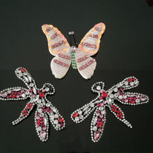 купить 4Pcs/Lot Handmade Rhinestone beaded Patches ,Butterfly/dragonfly Sew on Crystal patch for clothing beading Applique patch A1397 дешево