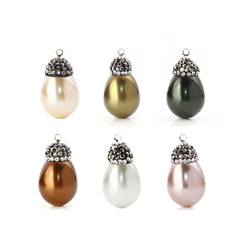"Doreen Box Shell Micro Paved Charms Drop Clear Rhinestone Imitation Pearl 26mm x14mm(1"" x 4/8"") - 23mm x13mm( 7/8"" x 4/8""), 1PC"