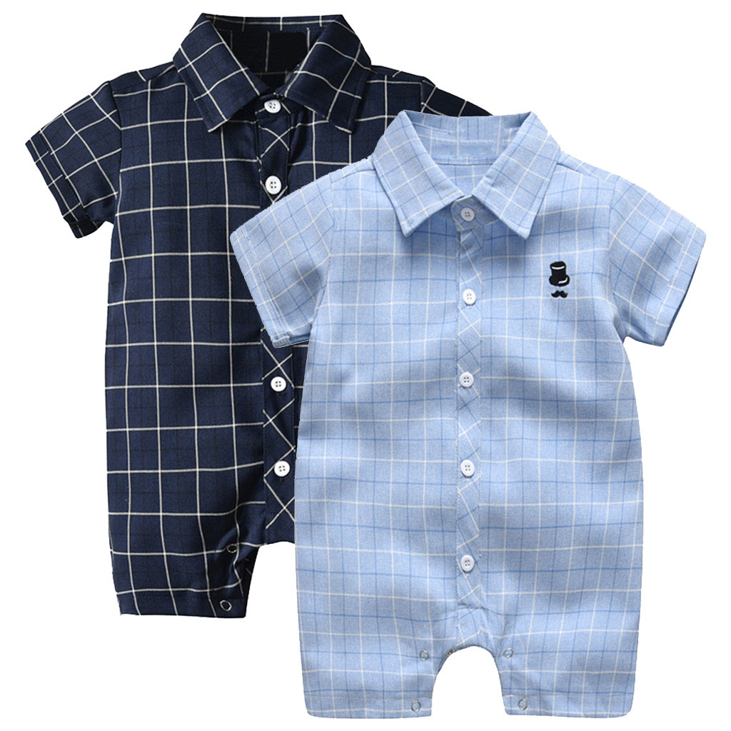 Infant Boy Jumpsuit Short Sleeve Gentleman Plaid Print   Romper   Clothes Baby Boys   Rompers   Summer 2019 Baby Onesies Newborn