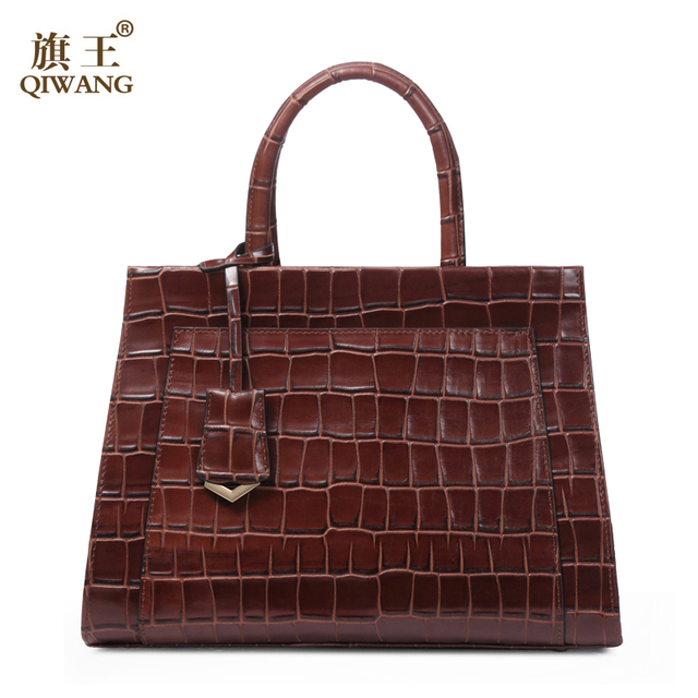 Classical Fashion Retro Women Brown Crocodile Bag Vintage Real Leather Handbags Tote Hand Bag Luxury Brand Designer Bag
