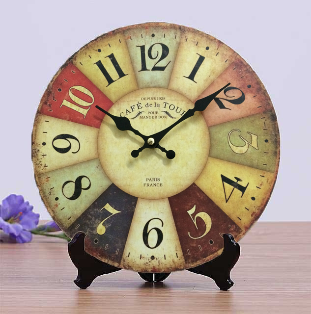 New Arrival Retro Wood Table & Wood Clocks Paris Design Antique Electronic MDF Wooden Clock 25cm Home Decoration Big Wall Clock