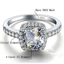 CC Wedding Rings For Women S925 Silver Cubic Zirconia Rectangle White Stone Adjustable Size Engagement Ring Bijoux Femme CC595