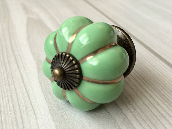 Green Cabinet Knobs Pumpkin Knobs Kitchen Dresser Knob Drawer Handles  Ceramic Porcelain / Antique Bronze Decorative