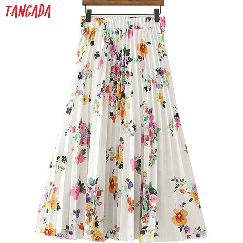 Tangada summer floral pleated skirt women fashion 2019 trending styles midi skirts casual brand female skirt XD356 Одежда