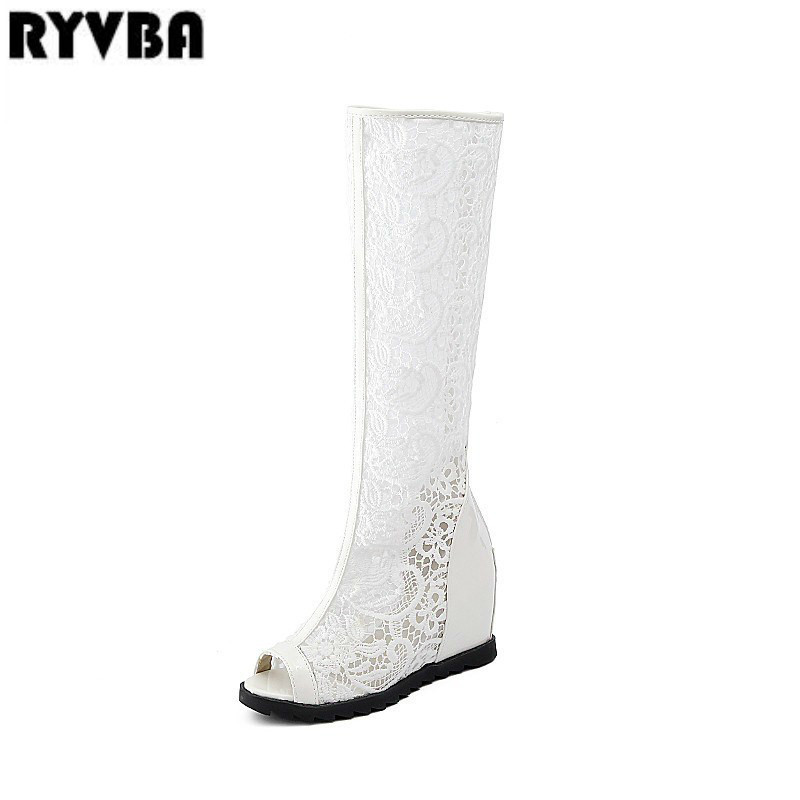 RYVBA womens fashion peep toe sandals ladies sandalias woman thigh high boots knee high boot women 2018 mesh lace summer boots