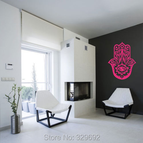 Wall Vinyl Sticker Decal Hamsa Hand Eye Indian Buddha Ganesh Lotus wall stickers home decor size 56x90cm