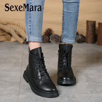 SexeMara Retro Solid Black Women Ankle Boots Vintage Genuine Leather Winter Autumn Warm Women's Boots Lady Lace up Flat Shoes