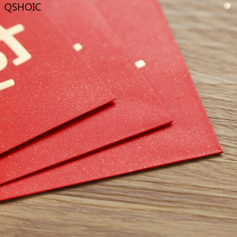 60PCS/SET New Year's Red Envelope Chinese Character Interesting Text Red Envelopes Cute