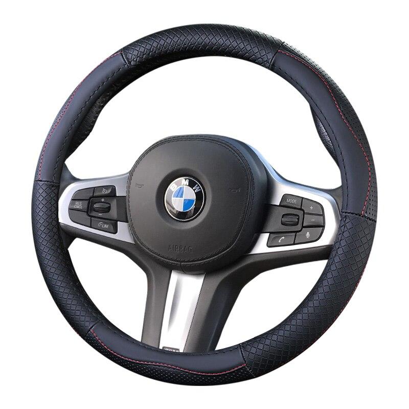Steering Covers Interior Accessories Olpay Black Genuine Leather Car Steering Wheel Wrap Cover For Bmw F10 2014 520i 528i 2013 2014 730li 740li 750li