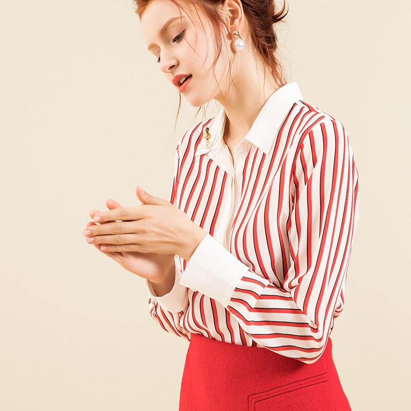Deuxième changement fille changement d'âge dix ans rouge et blanc couleur hit 2019 nouveau printemps long soie rayé blouse i90
