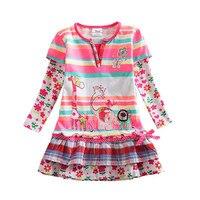 3 7Y Retail Kids Dress Baby Kid Dress Long Sleeve DressesPrint Princess Dresses Vestidos Children Clothes