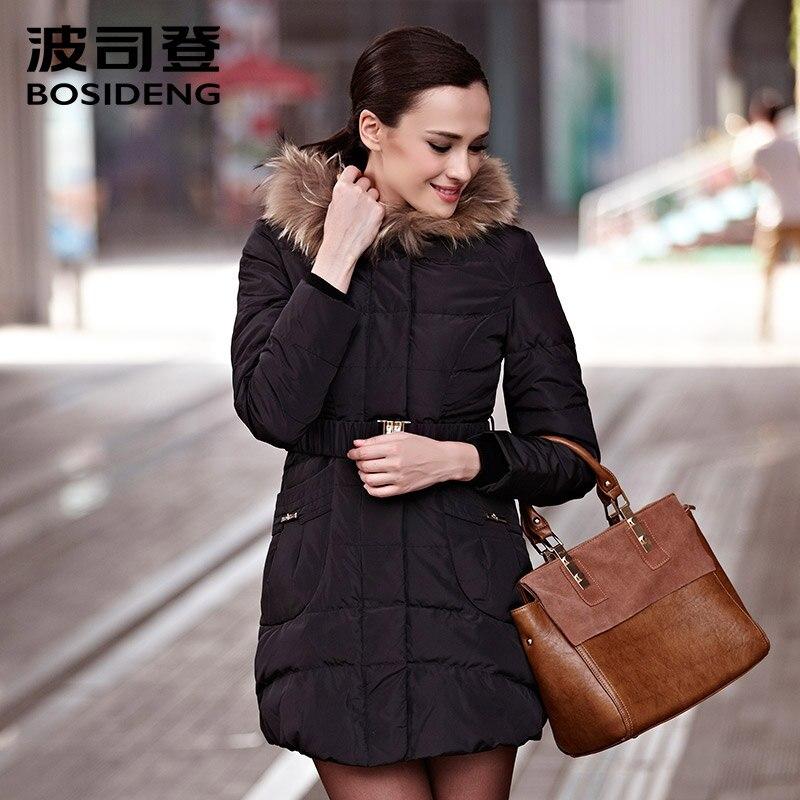BOSIDENG women's clothing winter jacket duck   down     coat   sashes hoodie fur collar warm luxury outwear parka pocket B1301222