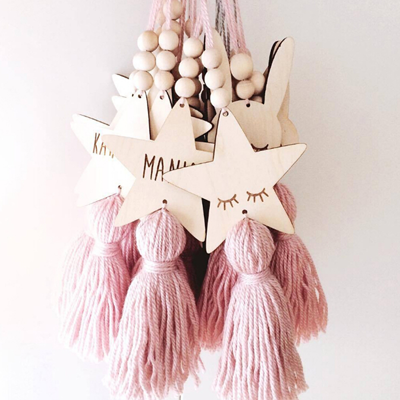 Nordic Style Cute Star Cat Shape Wooden Beads Tassel Pendant Kids Room Wind Chimes Decoration Wall Hanging Ornament Photography