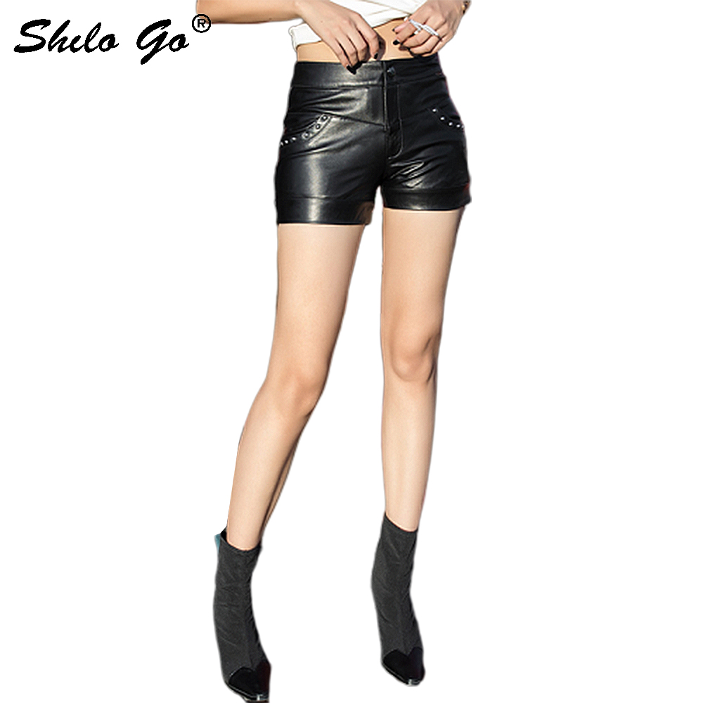 Streetwear Leather Shorts Womens Moto Rivets Pocket High Waist Sheepskin Genuine Leather Mini Shorts Concise Female Hot Shorts