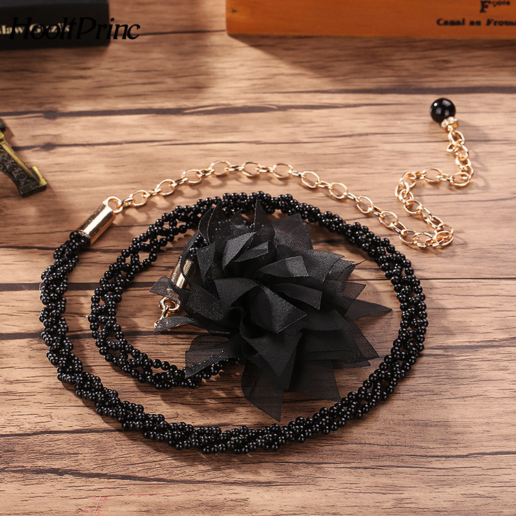 Elegant Women Pearl Belts Metal Chain Big Flower Belts Black White Pearl Chain Women Fashion Clothing Accessories