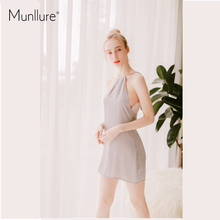 Munllure Dinner sexy hanging neck sleep dress lace bow hollow back   female home clothing  pajamas dress hollow cut insert knot back dress
