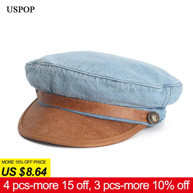65dc64820583c US $10.5 39% OFF|USPOP 2019 New women cap fashion denim newsboy caps men  vintage washable old visor caps PU leather brim octagonal hat berets -in ...