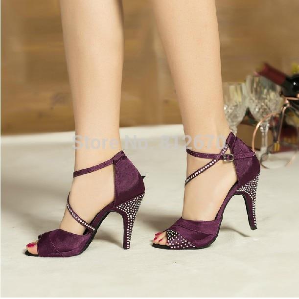 Clear Latin Dance Shoes Women Satin Rhinestone Ballroom
