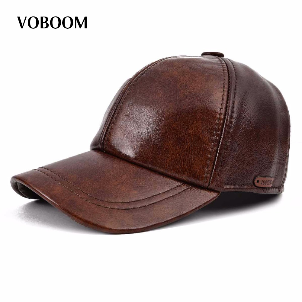 VOBOOM Genuine Leather Baseball Cap For Man Male Winter Classic Thermal Brand New Black/Brown Gorras Dad Fashion MY009