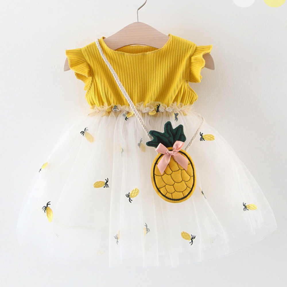 MUQGEW 2019 Hot Sale 2Pcs Summer Newborn Baby Girl Dress Sleeveless Wear Embroideried Pineapple Tutu Princess Party Clothes