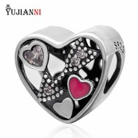 925 Sterling Silver Heart Charms With Clear CZ Pink Enamel Beads Mother S Day Gift Fit