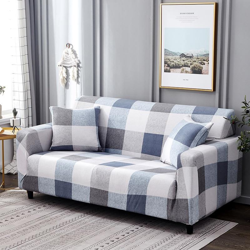 White Blue Plaid Colors Sofa Cover Elastic Cotton Stretch