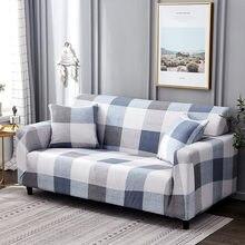 9a0fb3070e5 Blanco azul Plaid colores sofá cubierta elástico Algodón elástico  Slipcovers sofá esquina cubierta sofá cubre para sala de estar.