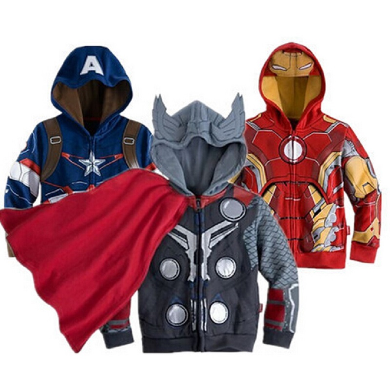 2016 Boys the Avengers Kids Jackets & Coats Children's Outerwear & Coats Super Hero Captain America Jackets Children Clothing