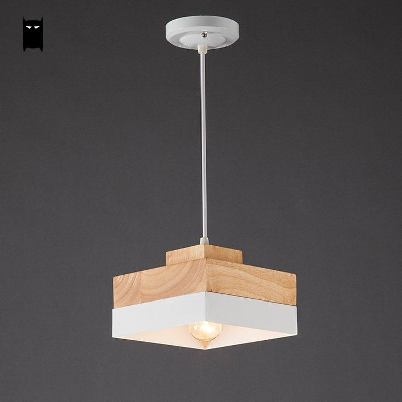 Us 85 0 Black White Oak Wood Iron Round Square Pendant Light Cord Fixture Modern Nordic Anese Hanging Ceiling Lamp Dining Room Cafe In