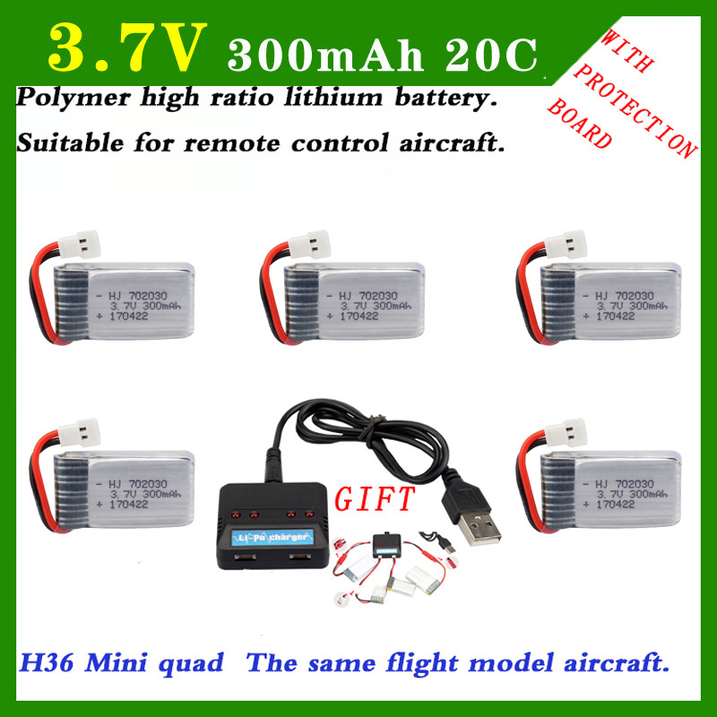 5PCS <font><b>3.7V</b></font> 20C <font><b>300mAh</b></font> RC <font><b>Lipo</b></font> <font><b>Battery</b></font> For Airplanes RC Helicopter Part RC Car Li-Po <font><b>Battery</b></font> Syma S107 S107G XH JST SM plug <font><b>3.7V</b></font> image