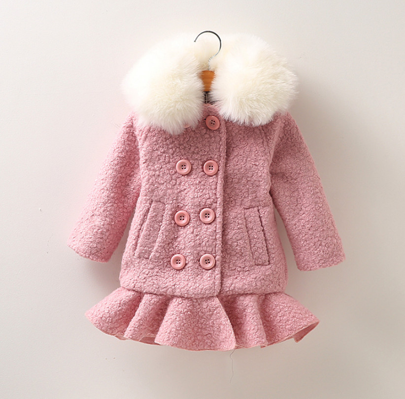 High Quality Children Cothing Winter Baby Girls Fur Collar Coat Girl Woolen Dress Jacket Thick Cotton Warm Kids Outwear 3T-12T children s day poster french high end girls blue temperament mosaic dress collar collar pleated dress